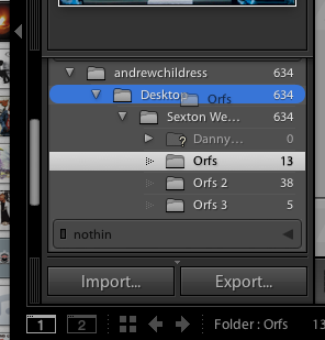 To move folders with images, just drag and drop them using the file browser on the left side of the Library module.
