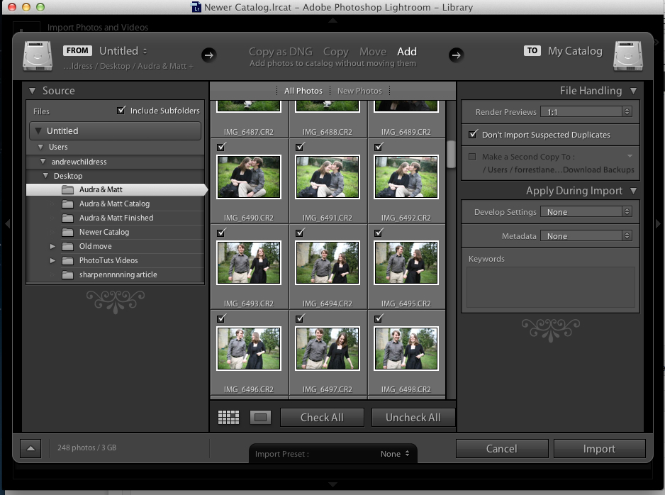 The Lightroom import menu can be a little overwhelming at first, but we'll take it one step at a time today.