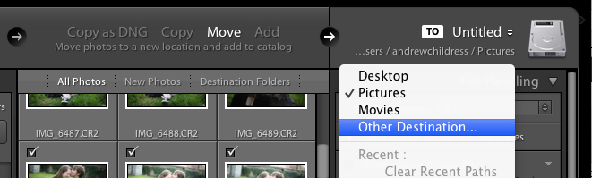 If you're moving or copying images, you'll need to tell Lightroom where you want those images to go by clicking the drive on the far right and choosing a destination.