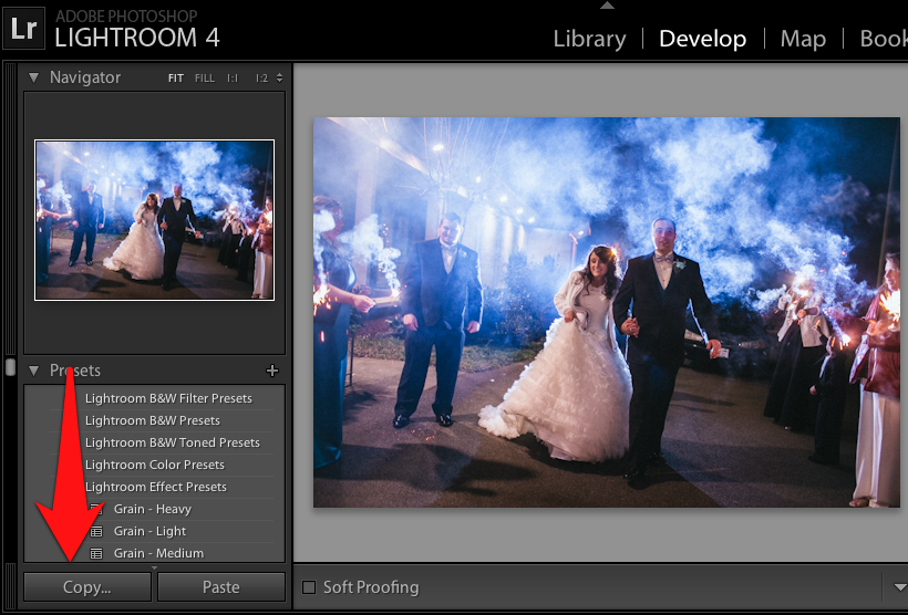 """To copy and paste our editing settings, start by selecting a photo in the Develop module and press the """"Copy"""" button on the lower left side of Lightroom."""