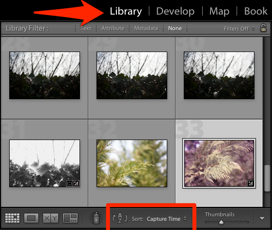 I do all of my sorting in the Library module and you'll see it automatically when you're in Grid View.