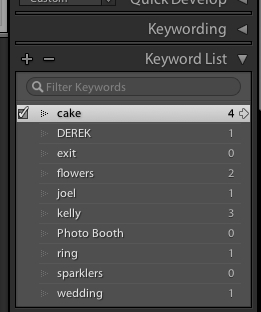 Another way to filter is using the Keyword List panel in the Library module. First, hover over a keyword, and then click the arrow to the right of the keyword.