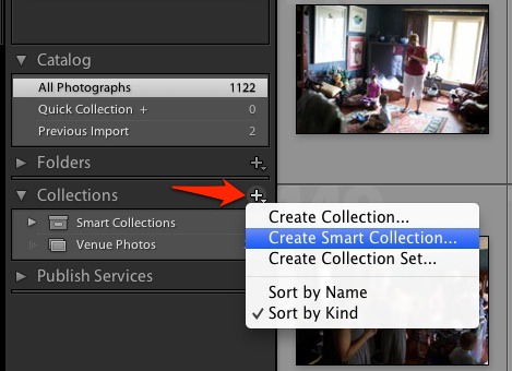 To get started with smart collections, enter the Library module. On the left side of Lightroom, press the plus button next to collections and choose New Smart Collection.
