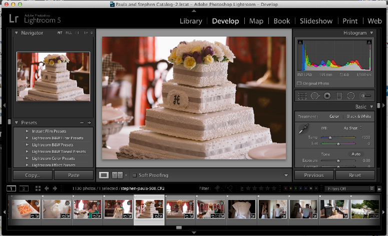 Oh boy, we'll be getting used to seeing this a lot! This is a full look at a typical view of Lightroom. I'll spend today showing around, and the rest of our time together learning to change it all.