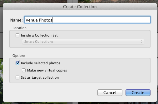 Go ahead and give your collection a name - I chose Venue Photos in this case. I usually leave all of the other options at default.