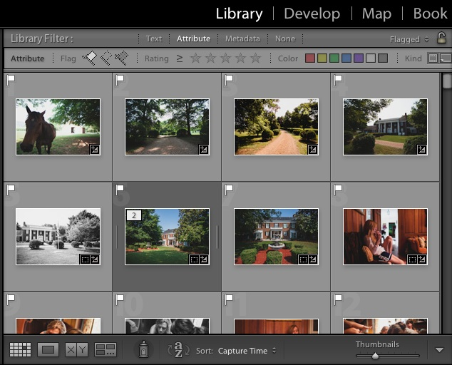 Grid view is one of the many ways of exploring our images in Lightroom's Library module. The four views let us browse the images differently.