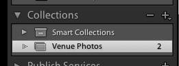 Your collection will pop up on the left side in the Collections pane. You can press the minus button to delete that collection.